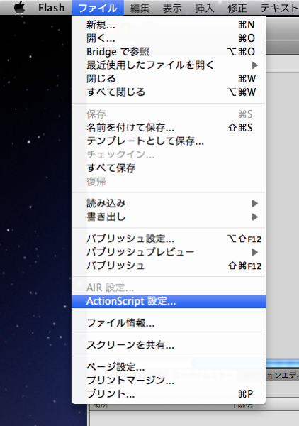 ActionScript設定